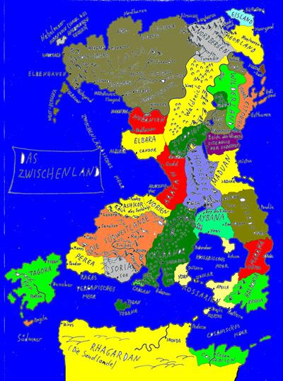 Karte von Alfred Bekker des Zwischenlands der Elben in Farbe