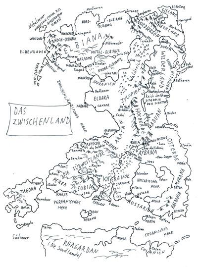 Karte von Alfred Bekker des Zwischenlands der Elben