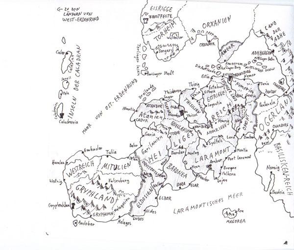 Karte von Alfred Bekker des Ost-Erdenrunds